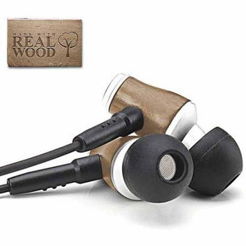 Accessory Power GOgroove AudiOHM WD Real Wood Stereo Earbud Headphones with In-line Microphone & Silicone Ear Gels