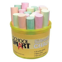 School Smart Sidewalk Chalk - 1 inch x 4 inch - Tub of 20 -Neon Colors