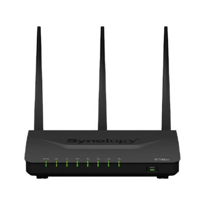 Synology RT1900ac IEEE 802.11ac Ethernet Wireless Router - 2.40 GHz ISM Band - 5 GHz UNII Band(3 x External) - 1900 Mbit/s Wireless Speed - 4 x Network Port - 1 x Broadband Port - USB - Gigabit Ethernet - VPN Supported - Desktop