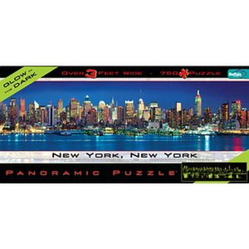Buffalo Games Panoramic Cityscape New York Glow in the Dark Jigsaw Puzzle 750 Pcs Ages 10+