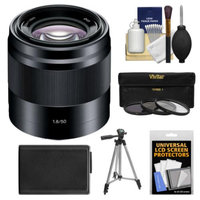 Sony Alpha NEX E-Mount 50mm f/1.8 OSS Lens (Black) with NP-FW50 Battery + Tripod + 3 Filters Kit for A7, A7R, A7S, A3000, A5000, A5100, A6000 Cameras