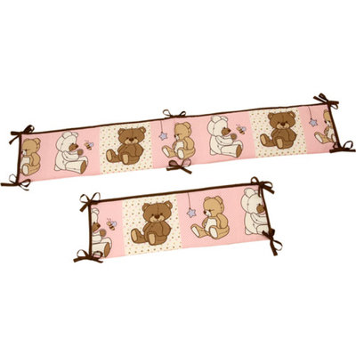 Little Bedding by NoJo Dreamland Teddy Crib Bumper, Girl