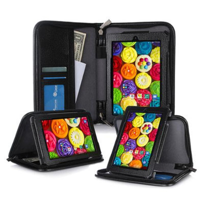 Kindle Fire HD 7 Tablet (2014) Case, roocase new Kindle Fire HD 7 Executive Portfolio Leather Case Cover with Stylus for All-New Fire HD 7 Tablet (2014), Black