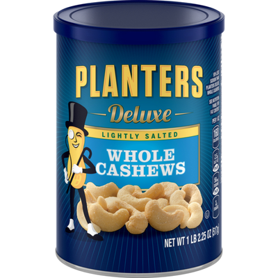 Planters Deluxe Lightly Salted Whole Cashews Can