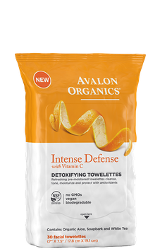 Avalon Organics Intense Defense With Vitamin C Detoxifying Towelettes