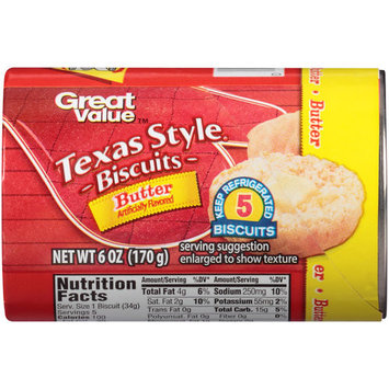 Great Value Butter Texas Style Biscuits, 6 count, 6 oz