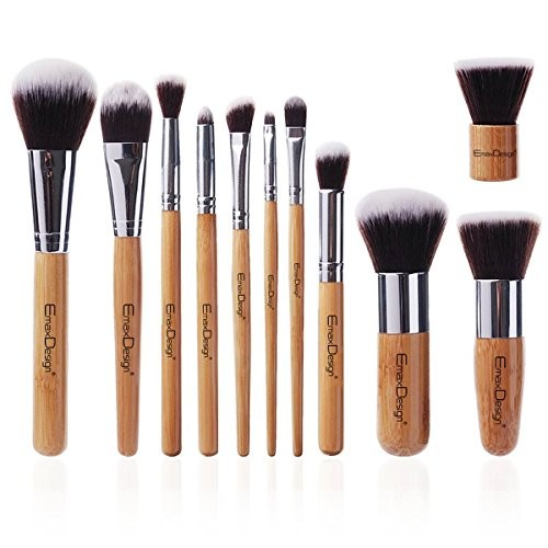 EmaxDesign Makeup Brush Set 11 Pieces Professional Bamboo Handle, Premium Synthetic Kabuki, Foundation Blending Blush Eye Face Liquid Powder Cream Cosmetics Brushes Kit Tool with Bag