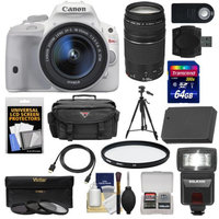 Canon EOS Rebel SL1 Digital SLR Camera & EF-S 18-55mm IS STM Lens (White) with 75-300mm III Lens + 64GB Card + Battery + Case + Flash + 3 UV/CPL/ND8 Filters Kit