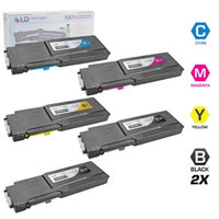 LD Compatible Alternative for Dell C3760DN / C3760N / C3765NF Set of 5 Toner Cartridges: 2 Black 331-8429, 1 Cyan 331-8432, 1 Magenta 331-8431 and 1 Yellow 331-8430