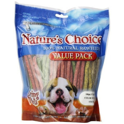 Loving Pets Nature's Choice 100-Percent All Natural 5 inch Rawhide Munchy Stick Dog Treats, 100/Pack (Assorted Colors