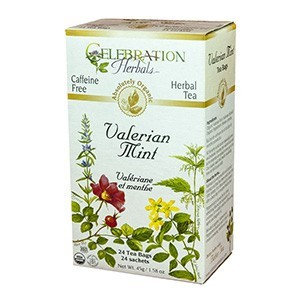 Celebration Herbals - Organic Caffeine Free Valerian Mint Herbal Tea - 24 Tea Bags