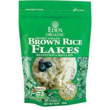 Eden Organic EDEN Brown Rice Flakes - Toasted & Rolled, Organic, 100% Whole Grain, 16 Ounce (Pack of 6)