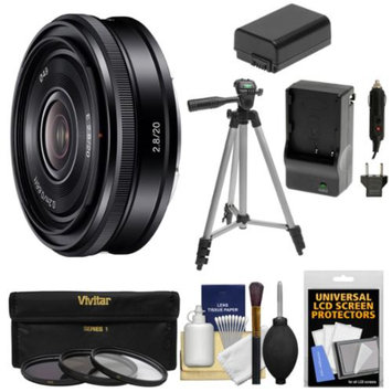 Sony Alpha E-Mount 20mm f/2.8 Wide-Angle Pancake Lens with 3 Filters + Tripod + NP-FW50 Battery & Charger + Kit + for A7, A7R, A7S, A3000, A5000, A5100, A6000 Cameras