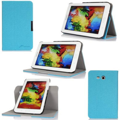 GearIt Samsung Galaxy Tab 3 7.0 Lite Case - 360 SPINNER landscape, portrait, typing stand folio cover - Twill Blue