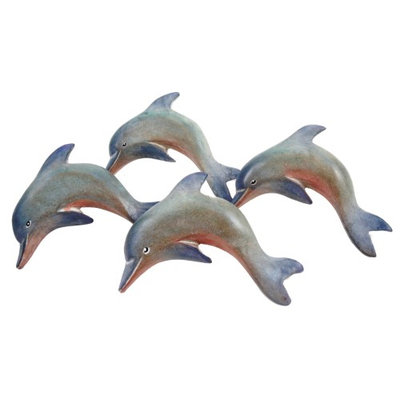 Ti Metal Design Nautical Ocean Marine Dolphin Napkin Rings Set of 4