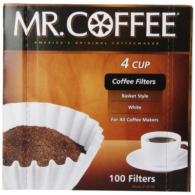 Mr. Coffee Basket Coffee Filters, 4 Cup, White Paper, 100-Count Boxes (Pack of 12)