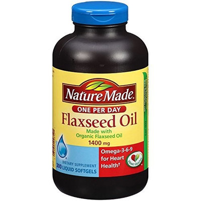 Nature Made Organic Flaxseed Oil 1,400 mg - Omega-3-6-9 for Heart Health - 300 Softgels [One Bottle of 300 Softgels]