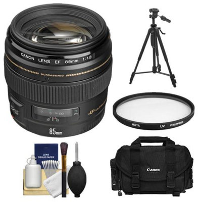 Canon EF 85mm f/1.8 USM Lens with Canon Case + Hoya UV Filter + Tripod + Cleaning Kit for EOS 6D, 70D, 5D Mark II III, Rebel T3, T3i, T4i, T5, T5i, SL1 DSLR Cameras