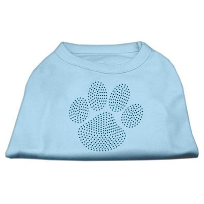 Mirage Pet Products 5254 SMBBL Blue Paw Rhinestud Shirt Baby Blue S 10