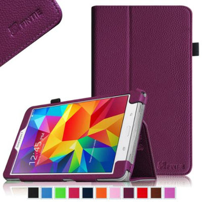 Fintie Folio Premium Vegan Leather Case Cover for Samsung Tab 4 7.0 7-Inch Tablet, Purple