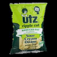 Utz Ripple Cut Reduced Fat Potato Chips Sour Cream and Onion