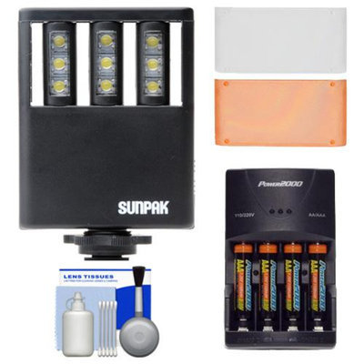 Sunpak Ultra Slim LED 9 Video Light with 2 Diffusers + (4) AAA Batteries & Charger + Cleaning Kit