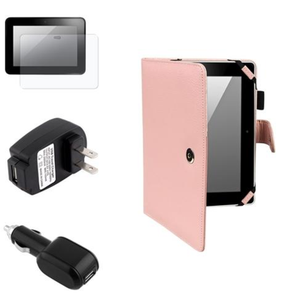 Insten INSTEN Pink Leather Case Cover+Anti-Glare SP+Car+Wall AC Charger For Kindle Fire HD 8.9