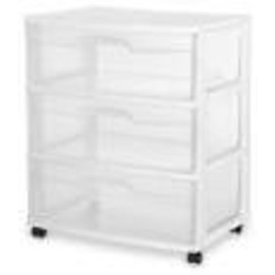 Sterilite 3 Drawer Wide Cart