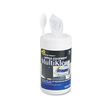 Read-right Read-Right REARR1407 Office Equipment MultiKleen Wet Wipes, Unscented, 75 Per Tub