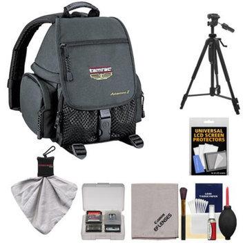 Tamrac 5242 Adventure 2 Photo Digital SLR Camera Backpack Case (Black) + Tripod + Canon Cleaning Kit for Canon EOS 70D, 6D, 5D Mark III, Rebel T3, T5i, SL1
