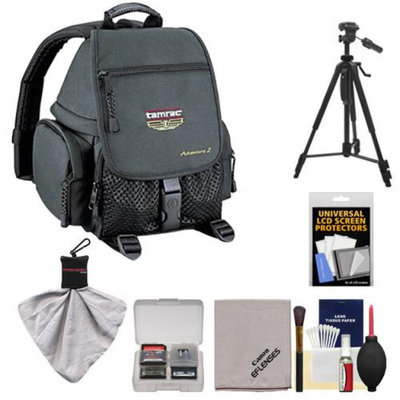 Tamrac 5242 Adventure 2 Photo Digital SLR Camera Backpack Case (Black) + Tripod + Canon Cleaning Kit for Canon EOS 70D, 6D, 5D Mark III, Rebel T3, T5i, SL1