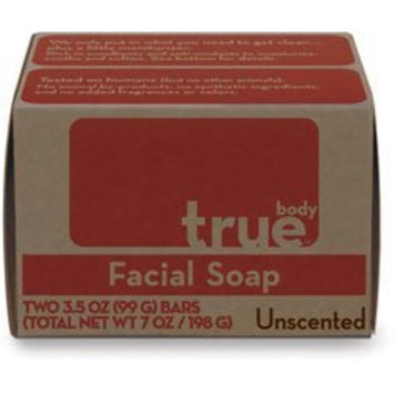 True Body Products True Body Bar Soap,Facial,Unscented 2/3.5 oz