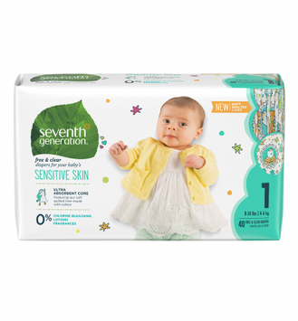 Seventh Generation Free & Clear Size 1 Baby Diapers