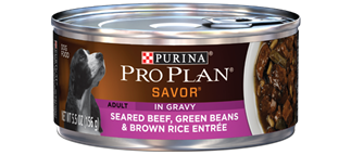 PRO PLAN® SAVOR® ADULT Seared Beef, Green Beans & Brown Rice Entree In Gravy
