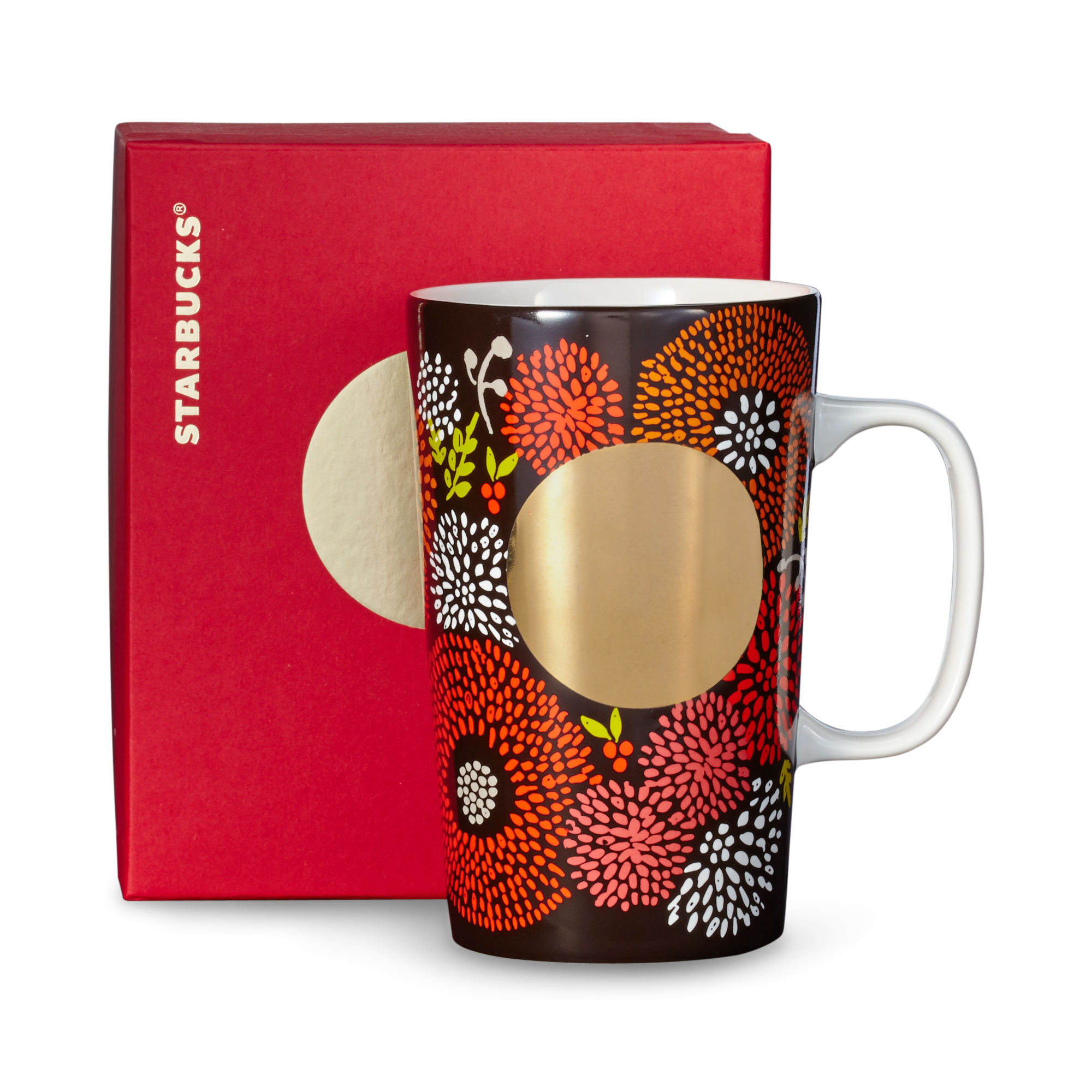 Starbucks Mug - Brown Floral, 16 fl oz