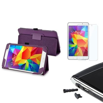 Insten INSTEN Purple Leather Stand Case+Protector/Dust cap For Samsung Galaxy Tab 4 7.0 7