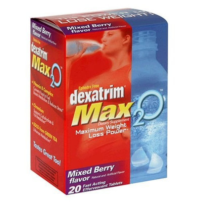 Dexatrim Max 2O, Mixed Berry Flavor, Effervescent Tablets, 20 Tablets (Pack of 2)
