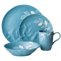 Blueprint Limited Blueprint 16 Piece Matte Floral Pattern Dinnerware Set - Blue