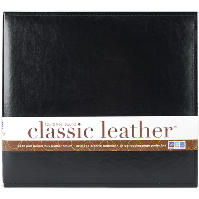 We R Memory Keepers Classic Leather Postbound Album, Black, 12