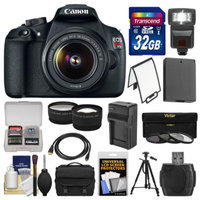 Canon EOS Rebel T5 Digital SLR Camera Body & EF-S 18-55mm IS II Lens with 32GB Card + Case + Flash + Battery + Tripod + Tele/Wide Lens Kit