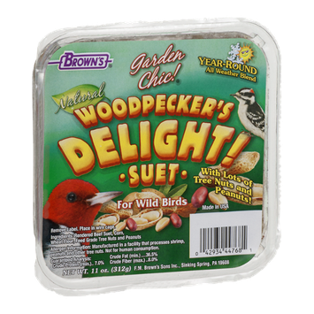 Brown's Garden Chic! Woodpecker's Delight! Suet For Wild Birds