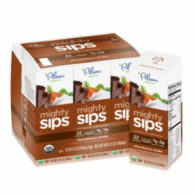 Plum Organics Mighty Sips, Chocolate Shake, 6 ea
