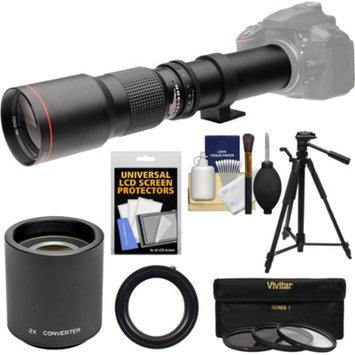 Vivitar 500mm f/8.0 Telephoto Lens with 2x Teleconverter (=1000mm) + Tripod + 3 Filters Kit for Canon EOS Rebel SL1, T3, T3i, T5, T5i, 70D, 6D, 7D 5D Mark II III Camera