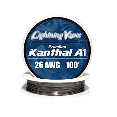 Genuine Lightning Vapes Kanthal 26 Gauge AWG A1 Wire 100ft Roll 0.40386 mm 3.21 Ohms/ft Resistance