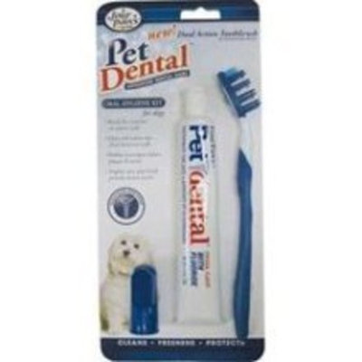Four Paws PetDental Oral Hygiene Kit for Dogs with Dual Action Toothbrush