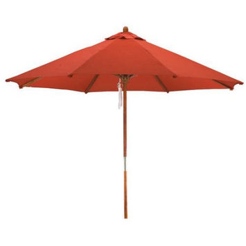 Lauren & Company Round Cranberry Red Patio Umbrella with Pulley (Common: 108-in; Actual: 108-in) LCUD003R-RED