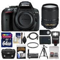 Nikon D5300 Digital SLR Camera Body (Black) with 18-140mm VR Zoom Lens + 64GB Card + Case + Flash + Grip + Battery + Tripod Kit