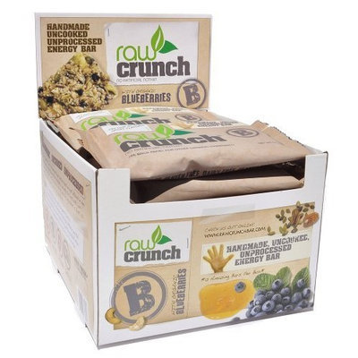 Body Engineering Inc. Raw Crunch Bars - Organic Blueberry - Box of 12 Bars