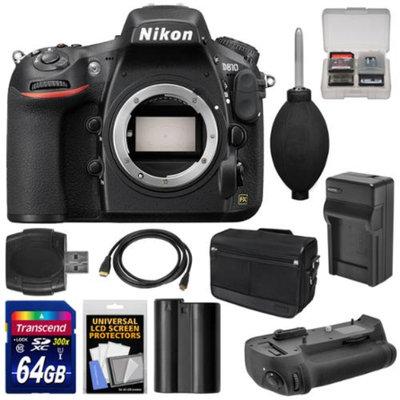 Nikon D810 Digital SLR Camera Body with 64GB Card + Battery & Charger + Shoulder Bag + Grip + Accessory Kit