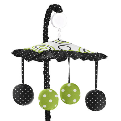 Sweet Jojo Designs Spirodot Lime and Black Collection Musical Mobile